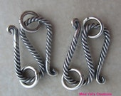 2 Sterling Silver Twisted S Clasps from Bali 20mm