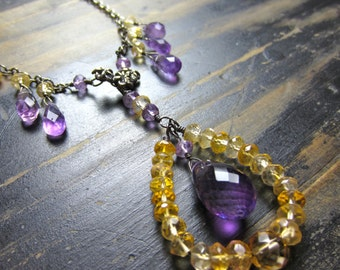 Y Necklace | Amethyst and Citrine Necklace | Gemstone Handmade Jewelry | Pendant Necklace