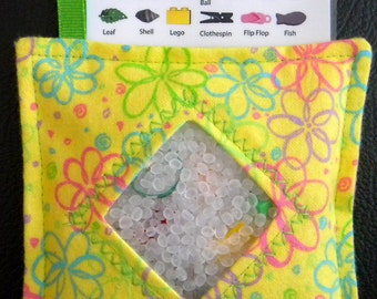 I Spy Bag - Mini with SEWN Word List and Detachable PICTURE LIST- Flower Frenzy Yellow