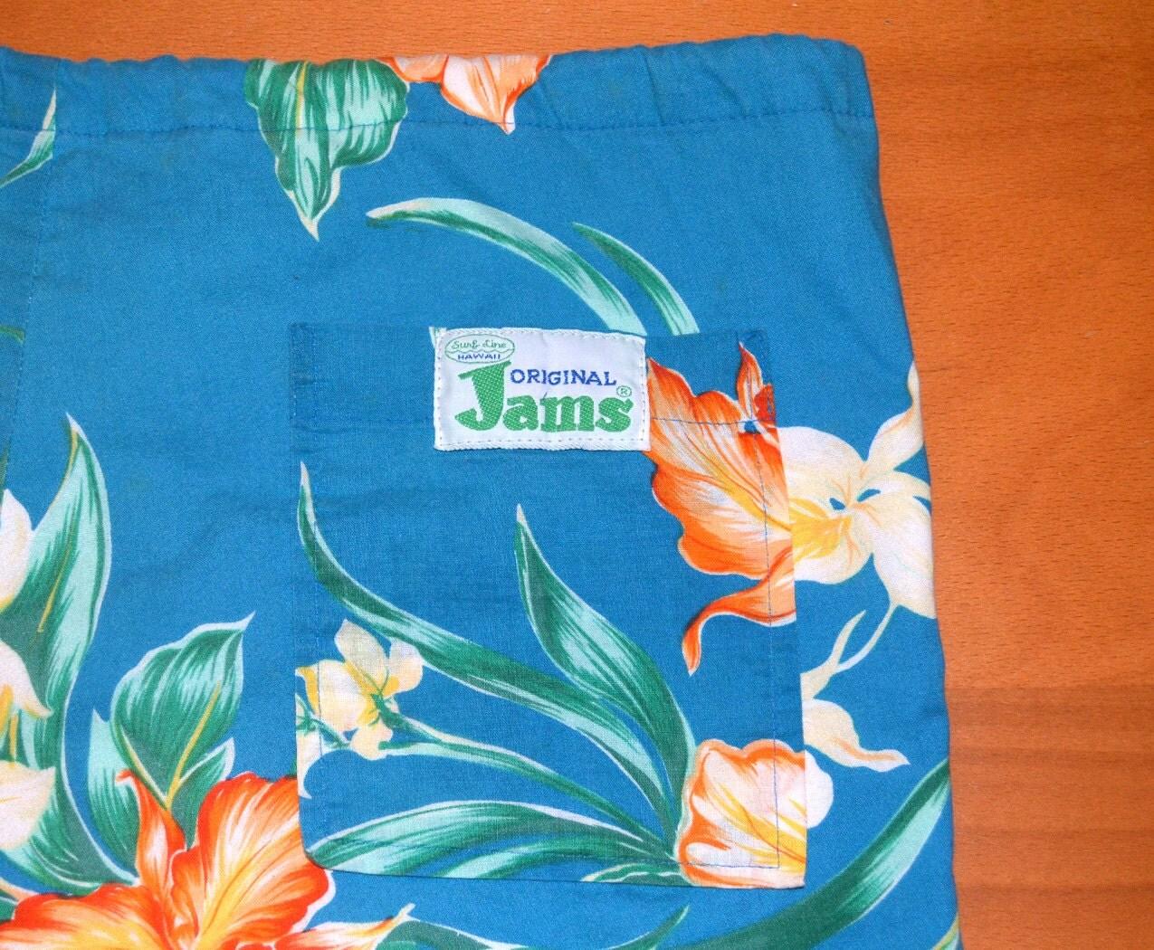 Vintage 80s Surf Line Original Jams Shorts Floral Pattern