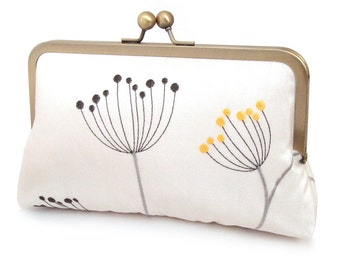 SALE: Pods clutch bag, embroidered silk-lined purse, wedding accessory, bridal clutch, bridesmaid gift, gift box