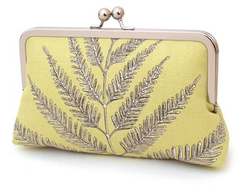 SALE: Yellow fern clutch bag, ferns purse, woodland wedding, bridal accessory, bridesmaid gift, with gift box