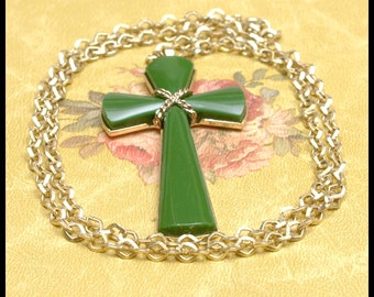 Vintage Cross Pendant on Goldtone Chain 1970s or 1980s