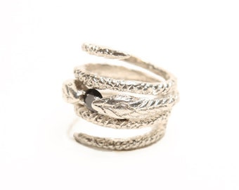 Infintity Snake Ring with Onyx