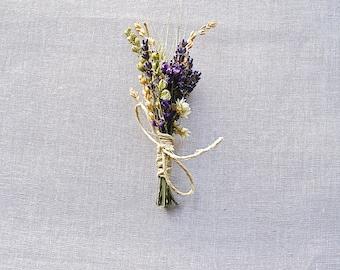 Summer Wildflower Wedding Lavender Larkspur and Wheat Boutonniere or Corsage