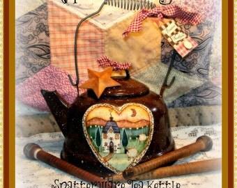 "E Pattern - Martha Smalley's Apple Tree Cottage Designs - ""Spatterware Tea Kettle"""