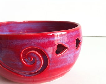 Large - Purple Red LOVE Ceramic  Yarn Bowl  - Made To Order