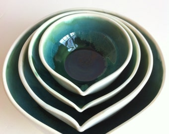 Forest Green  In White Nesting Bowls Set - Made To Order