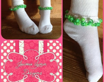 Custom Beaded Socks M2M Greens Colors