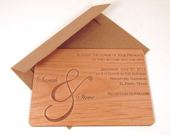 Ampersand Wood Wedding Invitation - Horiztonal Format