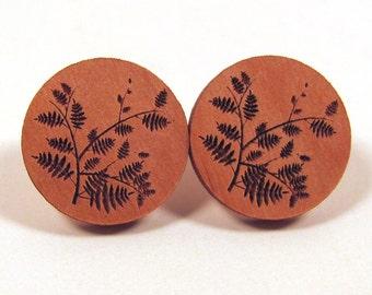 Fern Plant Wooden Post Earring Studs