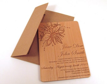 Flower Wooden Wedding Invitation
