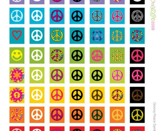 "Groovy Peace Signs Digital Collage Sheet for .75"" x .83"" Scrabble tiles, buttons, pins, bottle caps, tiles, magnets INSTANT DOWNLOAD"
