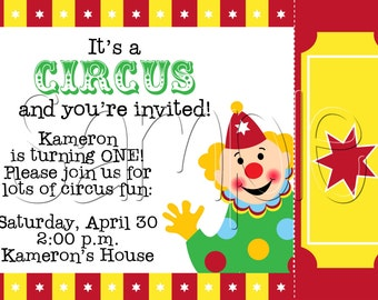 25 5x7 Circus Carnival Birthday Party Invitations