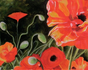 Poppies - 11X14 GICLEE PRINT of acrylic painting, Susan Black