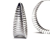 Anticlastic corrugated hoops in Sterling silver - Wide M