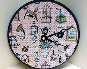 Vintage 1950's Housewares Handmade Wood Clock by cadencedesigns on etsy