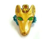 Anubis Necklace, Gold, Green, Turquoise