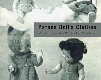 "Vintage Dolls Clothes to fit 10""12""-14""-16"" Doll, Knitting Pattern, 1950 (PDF) Pattern, P&B 585"