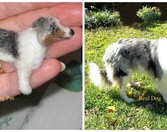 Pet Memorial  Pin of your Dog / Custom  Needle Felted Portrait / Sculpture Brooch / example Australian Shepherd