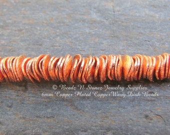 Full Strand - Brushed Copper 6mm Wavy Disc Beads