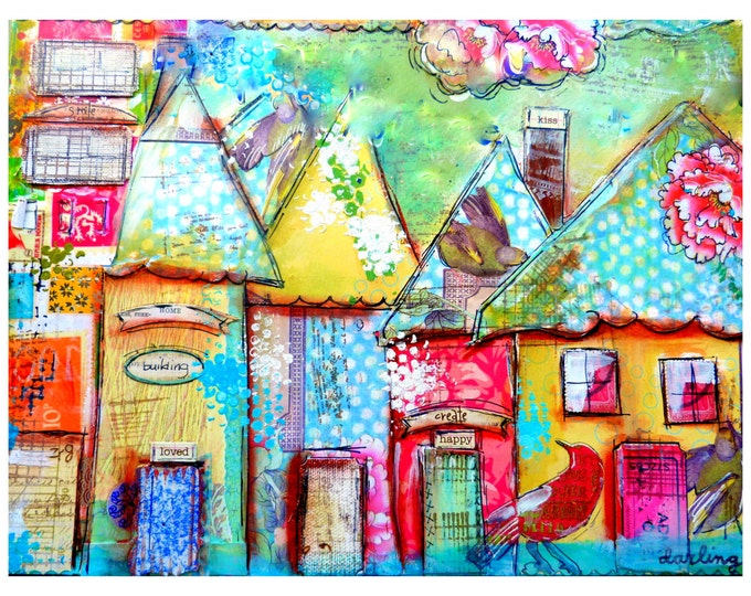 Art Print, Collage Work, Whimsical Houses,Kiss
