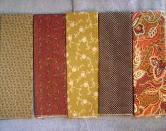 "5ct  Red and Browns  Fat Quarters  18"" x 22""  New Cotton"