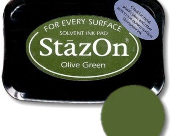 Olive Green StazOn Permanent Ink Pad --9314