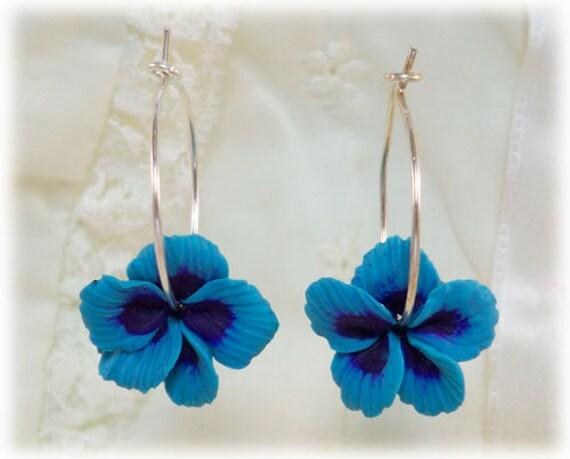 Hibiscus Hoop Earrings - 20 gauge Sterling Silver Hoops, Hibiscus Jewelry, Hawaii Flower Hoops, Hibiscus Earrings, Flower Jewelry