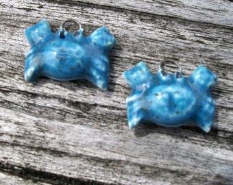 Shiny Sea Blue Ceramic Crab Pair
