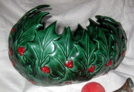 SALE Vintage 1950's Holly Leaves Christmas Punch Bowl,Planter Was 49.99 Now 24.99