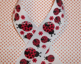 "Red Ladybug Ribbon Lady Bug Ribbon Ladybug Ribbon 7/8"" Red and Black Polka Dot Ladybug Grosgrain Ribbon 1 yd MTMG M2MG Ribbon by the Yard"