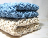 Handmade Cotton Crochet Wash Cloths / Dish Cloths, Blue and Ivory Washcloths / Dishcloths, Eco Friendly Cleaning, Bathing