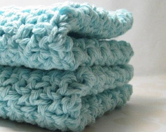 Light Aqua Dish Cloths, Crochet Dishcloths, Cotton Wash Cloths, Light Turquoise Washcloths, Eco Friendly Cleaning, Robins Egg Blue