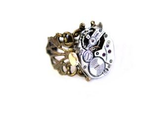 Steampunk Ring - Vintage Ruby Jeweled Swiss Watch Movement - Adjustable  Brass Filigree