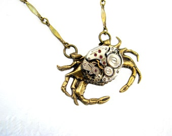 Steampunk Necklace -  Watch Movement Ruby Jeweled Petite Oval - Nautical Antique Brass Crab - Unisex -
