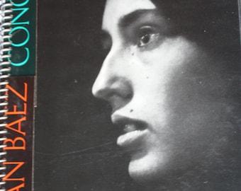 Joan Baez In Concert Handmade Recycled Vintage Album Cover Spiral Notebook Scrapbook Diary Journal Sketchpad