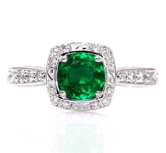 Art Deco Emerald Engagement Ring Diamond Halo 14K By RareEarth