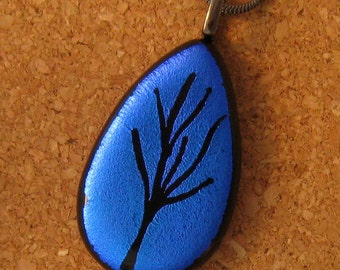 Dichroic Tree Pendant Etched Glass Pendant Glass Jewelry Fused Glass
