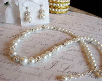 Swarovski Rhinestone and Pearl Bridal Necklace and Earring Set - Bride and Bridesmaid Jewelry/Wedding Jewelry