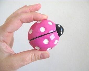 Hot Pink Ladybug Knob - dresser drawer knob for kids room