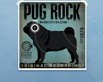 PUG Rock Records dog illustration graphic artwork giclee signed artist's print by stephen fowler