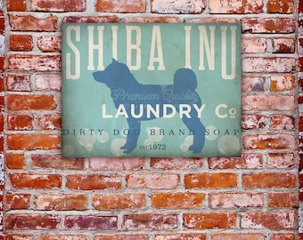 Shiba Inu Laundry Company illustration graphic art on canvas by stephen fowler