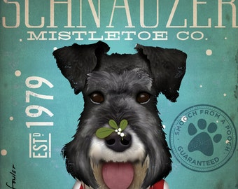 Schnauzer mistletoe company original illustration by stephen fowler signed archival print by Stephen Fowler