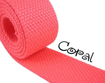 """Cotton Webbing - Coral - 1.25"""" Medium Heavy Weight for Key Fobs, Purse Straps, Belting - SEE COUPON"""