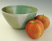 Serving / Salad / Mixing Bowl in Jade Green, White, and Tan