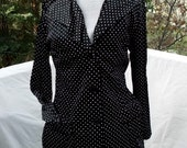 Joseph Magnin 70s Jersey Jacket Blazer Black Knit with White Polka Dots Black and White and Cute 34/35 bust