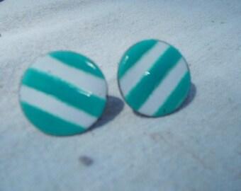 Aqua and White 50s 60s Enameled Striped Earrings Copper  w brass Screwback