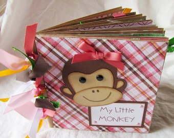 Mini Scrapbook Album - PaPeR BaG BooK -- MY LITTLE MONKEY girl -- premade 6x6 scrapbook - baby girl, monkey album, monkey paper piecing