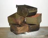 Vintage Rusty Metal Bins Industrial Storage  Group of 5 Vintage Bins Industrial Metal Bins  Shop VintageEmbellishment